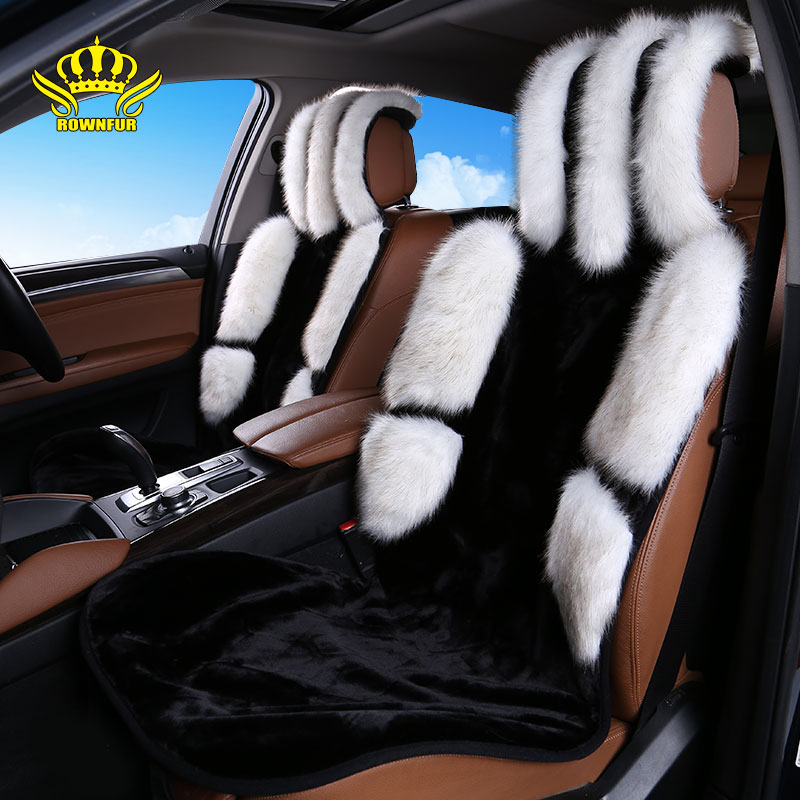 1pcs For Front car seat covers faux fox fur cute car interior accessories cushion styling winter new plush car pad seat cover 22 brand new styling luxury leather 5 color 3d car seat covers front
