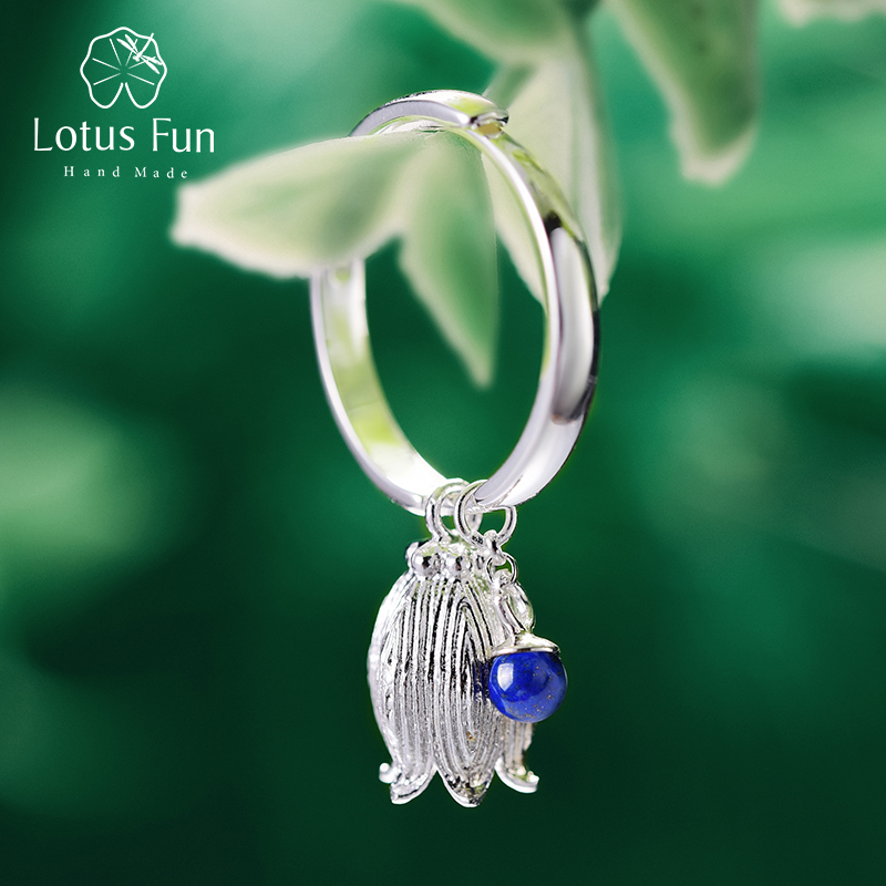 Lotus Fun Real 925 Sterling Silver Natural Lapis Gemstone Creative Vintage Fine Jewelry Fresh Redbud Bell Flower Rings For Women