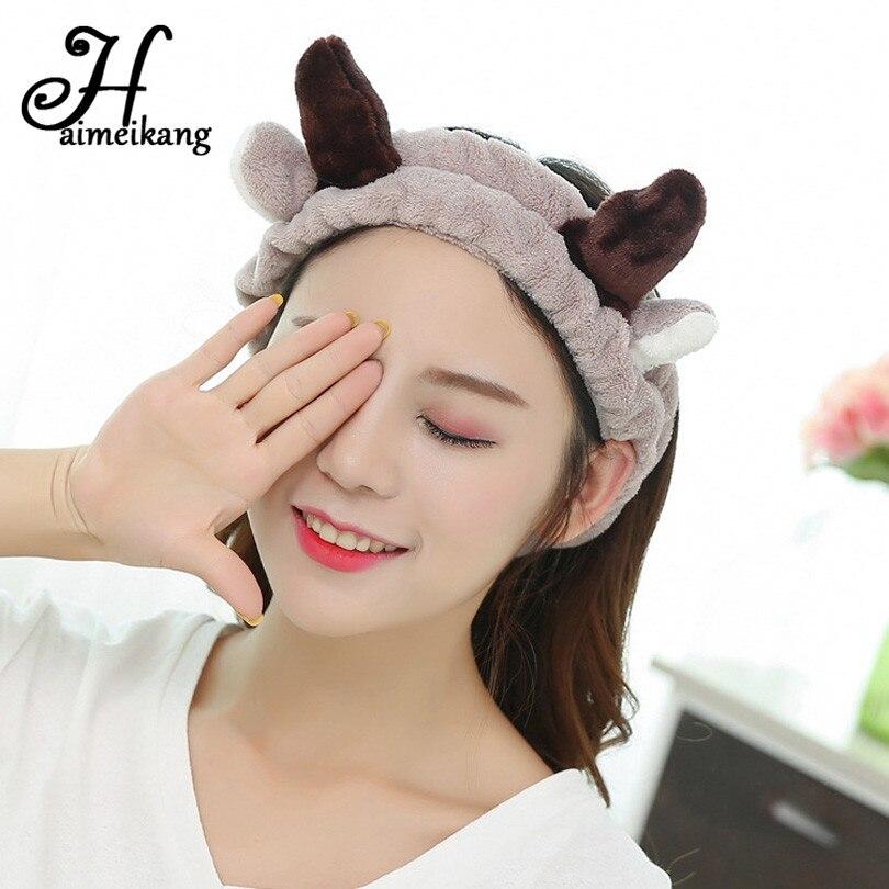 Haimeikang Soft Cute Antlers Hair Bands Facial Mask Headband Deer Horn Ear SPA Wash Face Makeup Women Cartoon Hair Accessories beanie