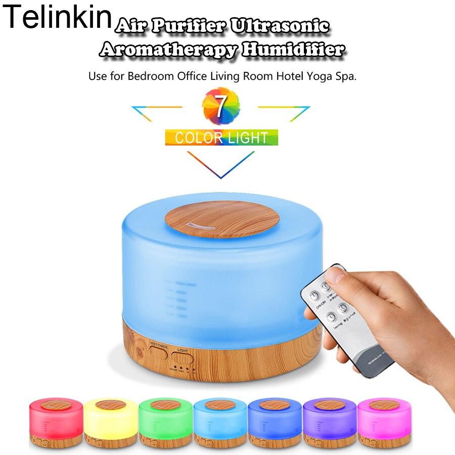 Madera difusor de aroma humidificador Control remoto 500 ml colorido lámpara temporizador función humidificador ultrasónico aroma difusor de madera