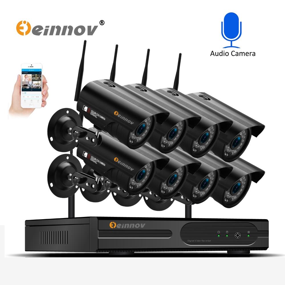 Einnov 8Ch 1080P Wireless Home Security CCTV Camera System Audio Record 2MP Ip Cam wifi Video