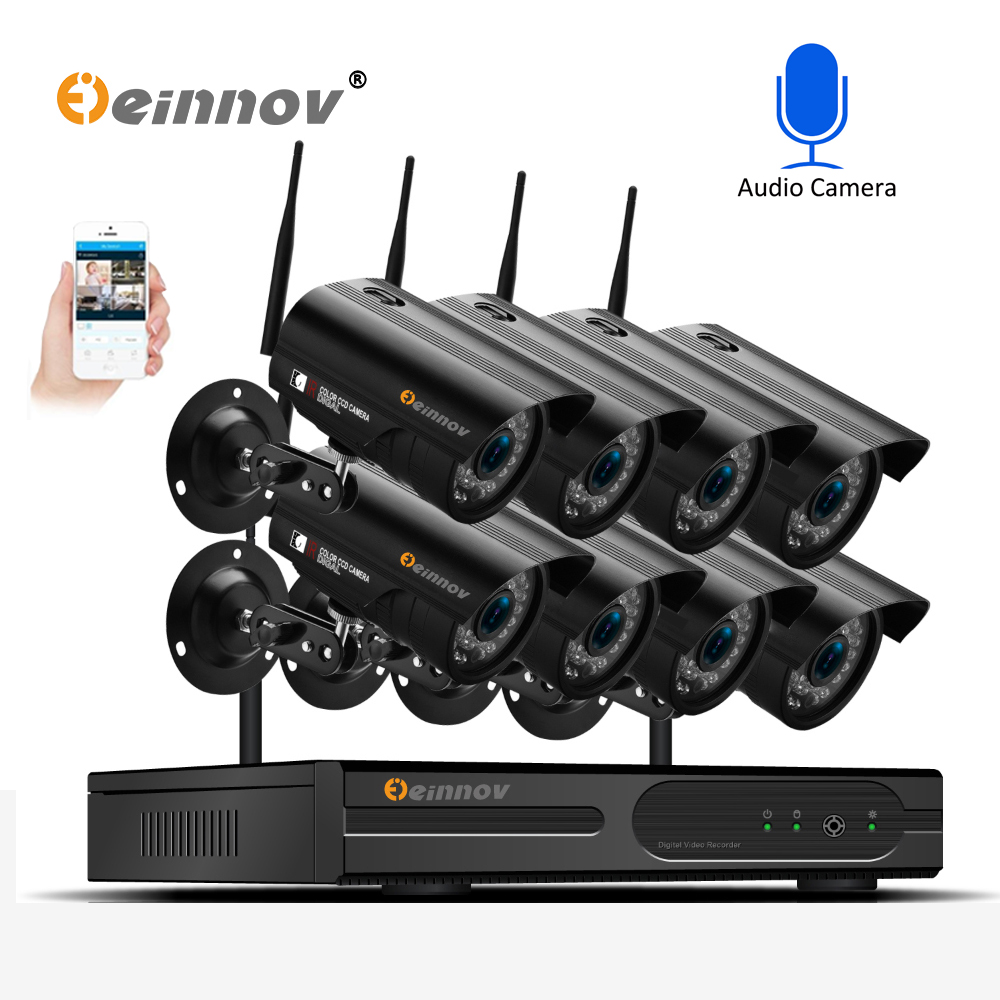 Einnov 8Ch 1080P Wireless Home Security CCTV Camera System Audio Record 2MP Ip Cam wifi Video Surveillance Kit Set wi-fi CamaraEinnov 8Ch 1080P Wireless Home Security CCTV Camera System Audio Record 2MP Ip Cam wifi Video Surveillance Kit Set wi-fi Camara
