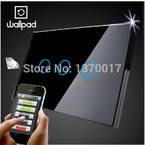 Wallpad LED light Crystal Glass US 3 Gangs Black Touch Wifi Wall Light Switch,Wireless Remote control light switch,Free Shipping eu 1 gang wallpad wireless remote control wall touch light switch crystal glass white waterproof wifi light switch free shipping