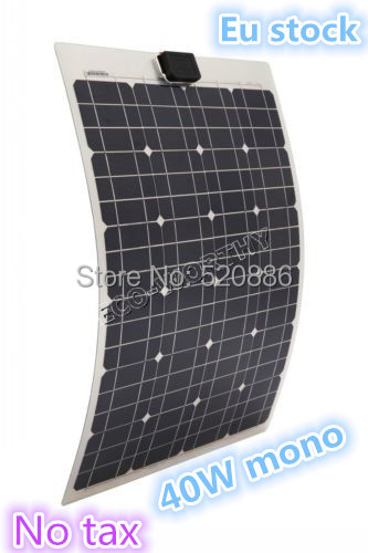 DE stock, no tax, 40W  18v  mono semi-flexible pv solar panel, for boat RV,free shipping 100w 18v mono semi flexible solar panel with front junction box 22% high efficiency sunpower solar cell pv moudle for 12v system