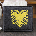 New Quality Men's Wallets Soft PU Black Color 2 Folds Lightweight Double Headed Eagle Printing Photo Bit ID Credit Card Holder