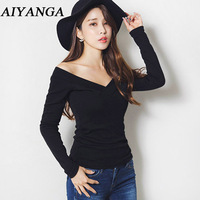 High Quality Cotton Sexy Big V Neck Long Sleeve T Shirts For Women Cozy Slim Solid