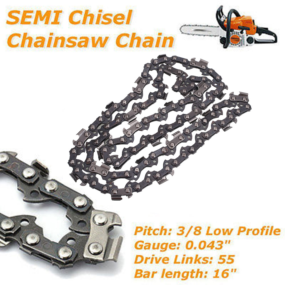 55 Drive Links Universal <font><b>Chainsaw</b></font> <font><b>Chain</b></font> Home <font><b>16</b></font> <font><b>Inch</b></font> Semi Chisel image