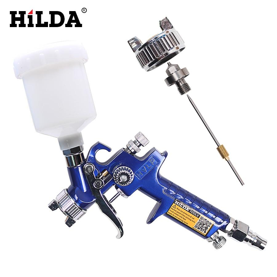цена на HILDA HVLP Spray Gun 0.8mm/1.0mm Nozzle H-2000 HVLP Spray Gun Mini Air Paint Spray Guns Airbrush For Painting Car Aerograph
