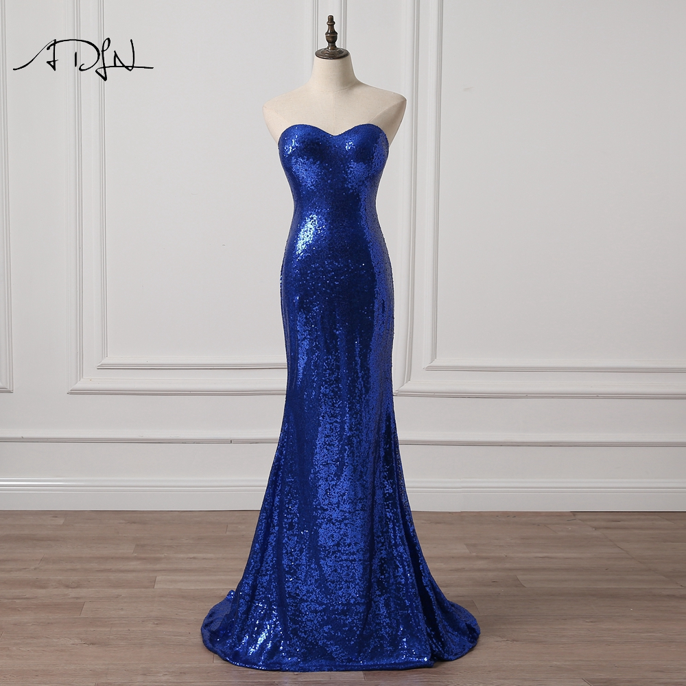 ADLN Sweetheart Sequin Mermaid Evening Dresses Sexy Bling Long Prom Party Gowns Royal Blue Red Gold