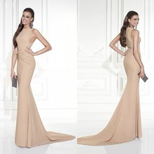 New 2015 Tarik Ediz Elegant Mermaid Formal Evening Dresses Satin Sleeveless O Neck Hot Sale Vestido de festa Summer Gown ZY3305