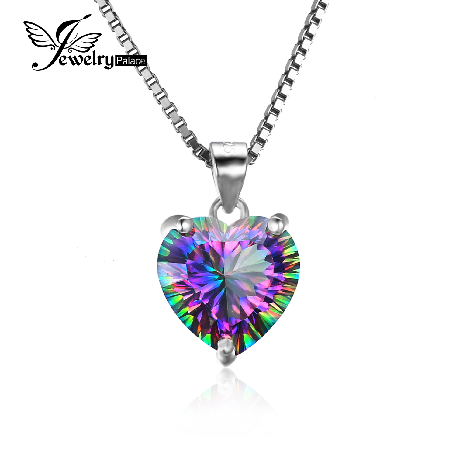 JewelryPalace 4 35ct Genuine Rainbow Fire Mystic Topaz Heart Pendant Solid 925 Sterling Silver Vintage Jewelry