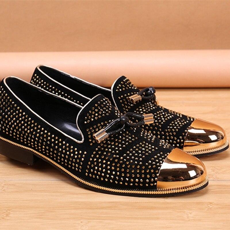 2020 Fashion Casual Formal Shoes For Men Black Genuine Leather Tassel Men Wedding Shoes Gold Metallic Mens Studded Loafers