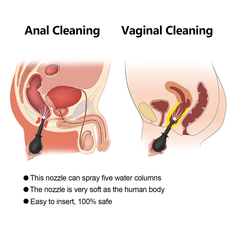 210ml Silicone Unisex Anal Cleaner Vaginal Douche Shower Portable Nozzle Enema Bulb Anal Cleaning Sprayer Anus Shower Ball in Anal Sex Toys from Beauty Health