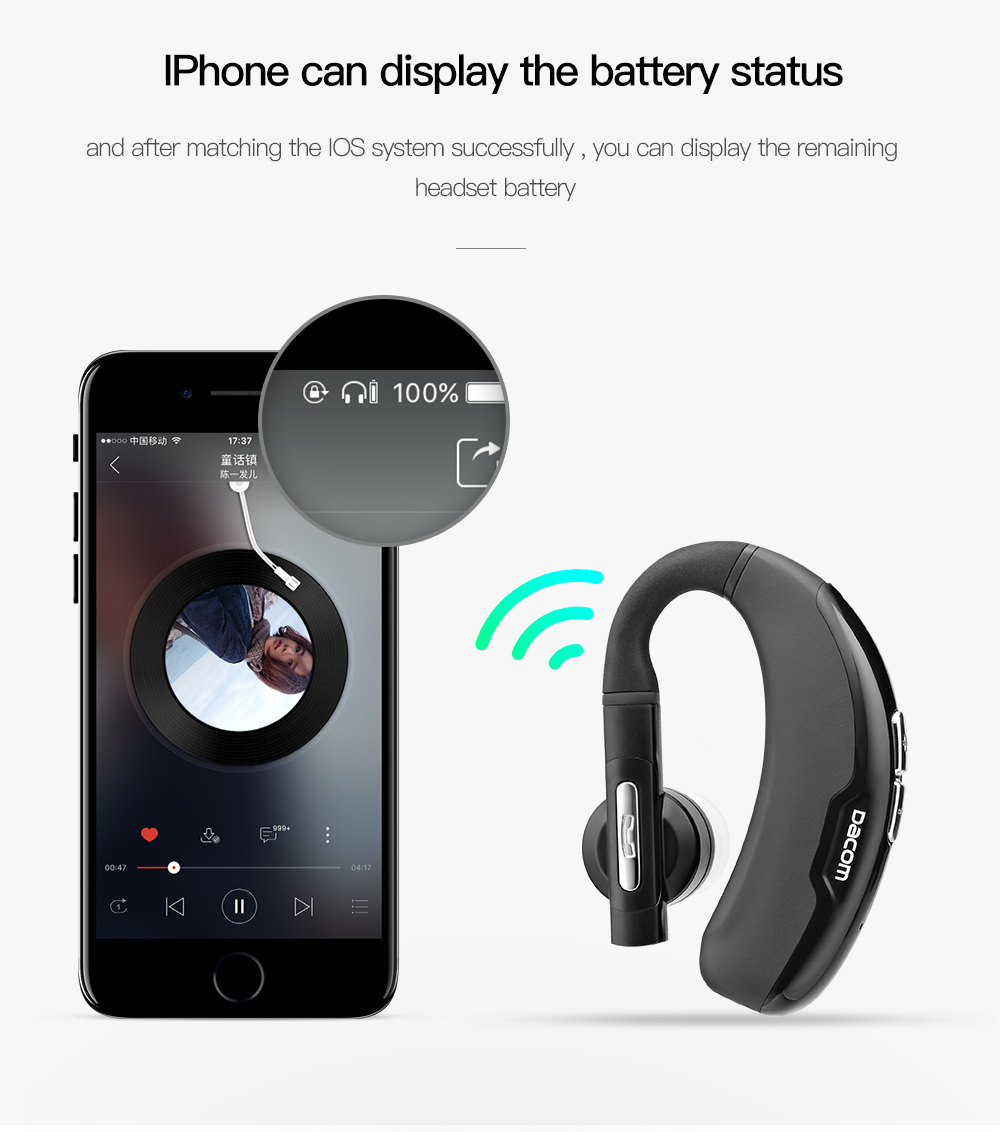 M10 Busines Headset Wireless Bluetooth V4.1 Earphone Ear-hook with Mic Music Playing CVC Noise Cancelling