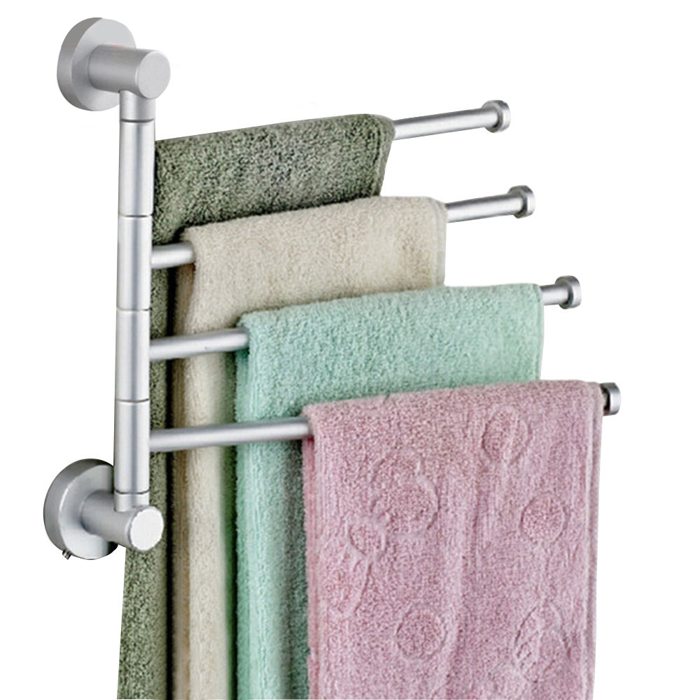 4 Rods Stainless Steel Towel Bar Rotating Towel Rack Kitchen ...