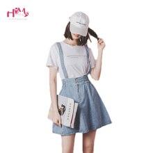 Faldas vaqueras con tirantes y cintura alta para mujer, Minifalda vaquera con tirantes ajustables, de talla grande, elástica, para estudiantes