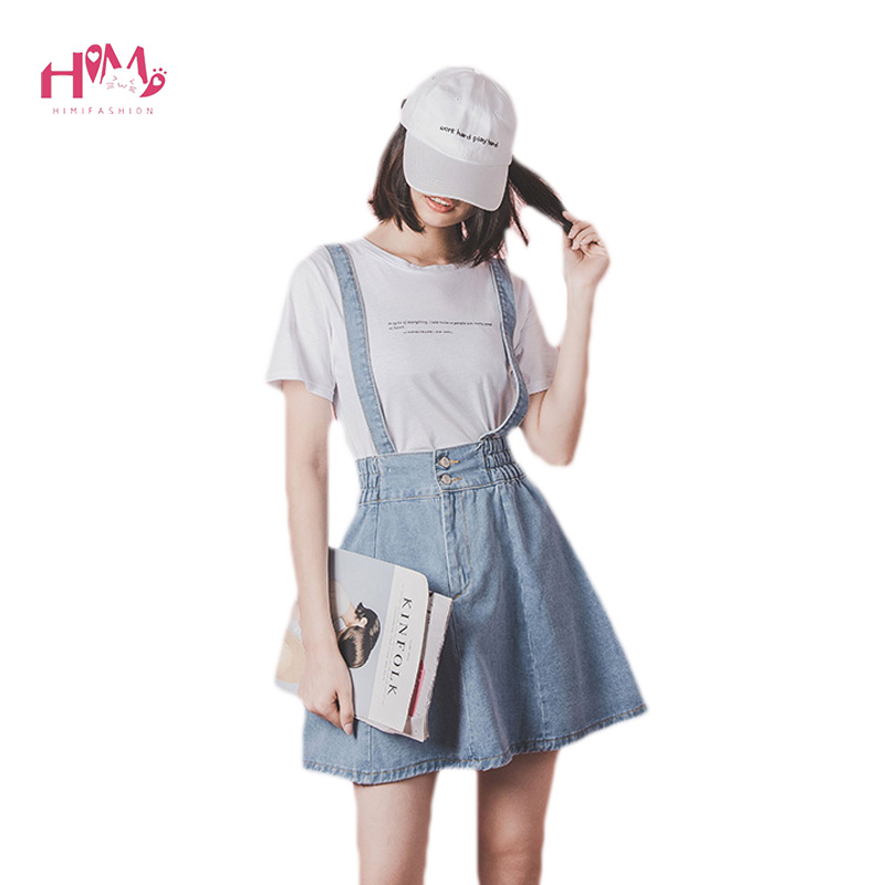 Women High Waist Suspender Denim Skirts Adjustable Strap A-line Mini Denim Skirt Plus Size Elastic Student Jumper Overall Skirts