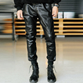 2016 new fashion casual outdoor skinny trousers hip hop parkour harem leather pants men justin bieber pants