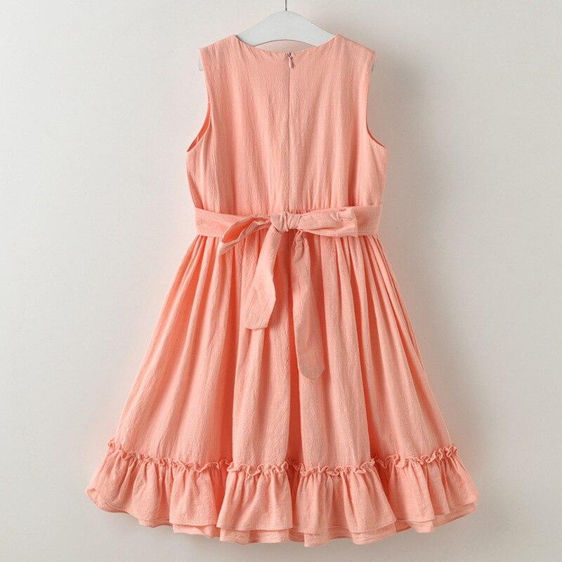 2019 verano nueva niña de lino de algodón vestido largo sin mangas - Ropa de ninos - foto 2