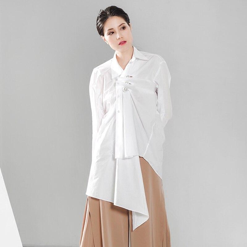 Chemisier Kohuijoo Occasionnel Mode Ami Blanc Printemps Perlée Petit Perle Tops Femmes Manches Longues Chemises Lâche Automne Irrégulière 6qfn6Op