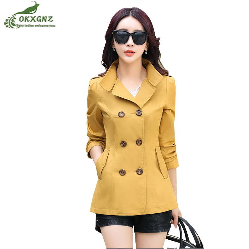 OKXGNZ new short outwear female autumn wild slim windbreaker coats double-breasted fashion spring women's   trench   coat large size