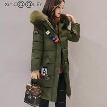 2017 Fashion Winter Korean Loose Fur Collar Hooded Women Parka Long Coat Thickened Tide Medium-long Warm Cotton Jacket Coat