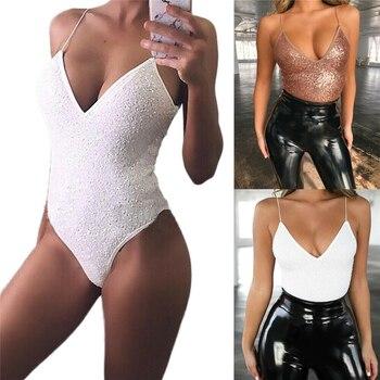 New Women Sexy Strappy Sequin Bodysuits Bodycon Summer Slim Skinny Solid Bodysuit Lady Clubwear Stretch Bandage Leotard Body Top