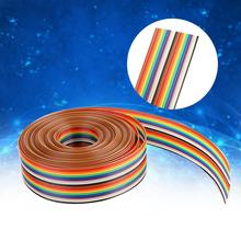 1.27mm Spacing Pitch Cable Colorful 20P Flat Rainbow Ribbon Wire Width 2.54cm