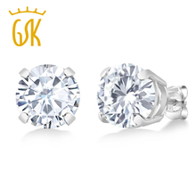 natural Moissanite jewelry stud earrings 3 20Ct Round 8mm White 925 Sterling Silver Earring Elegant and