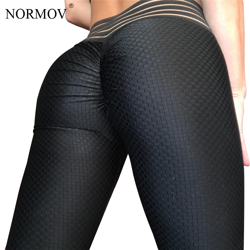 NORMOV High Waist Leggings Women Fitness Clothing Workout Push Up Leggings Female Solid Black Sexy Breathable Hot Pants Gothic