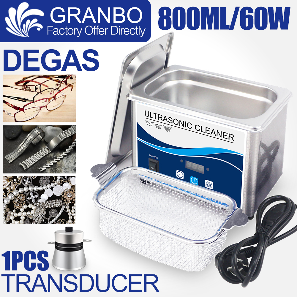 Ultrasound Jewelry Cleaner 800ml 60W/35W Stainless Cleaner Bath Degas Timer Ultrasonic Bath For Glasses Earring Coins Watches