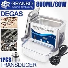 Мини 800 мл Ультразвуковые чистящие средства для ювелирных изделий 60 Вт / 35 Вт Очиститель для ванны для дегазирования ультразвука для очков