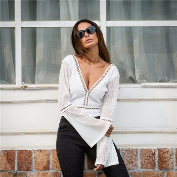 2018 Women Lace Bodysuit Sexy Deep V-Neck Flare Sleeve Playsuit Romper Ladies Backless Long Sleeve Hollow Out Body Suit Overalls 7