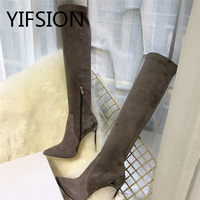 YIFSION/черные, серые пикантные Женские Сапоги выше колена с острым носком без шнуровки, замшевые женские осенние сапоги на тонком высоком кабл