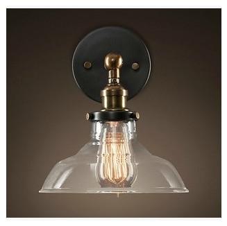 Loft style Edison applique industrielle antique chapeau de paille Edison ampoule murale éclairage avec abat-jour en verre fer clair applique en verre