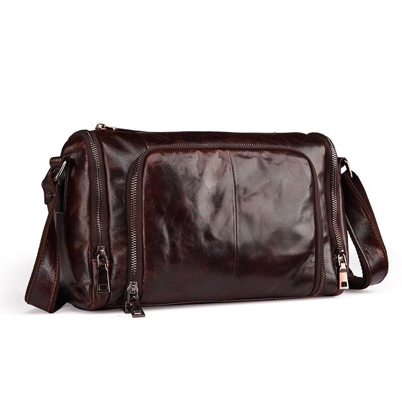 ФОТО Fashion Vintage Men's Bucket Bag Genuine Leather Shoulder Bag High Quality Messenger Bag for Man England Style Crossbody Bag
