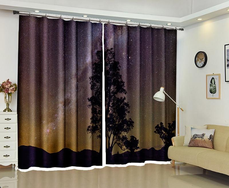 Customized Blackout Curtains Night sky 3D Print Window ...