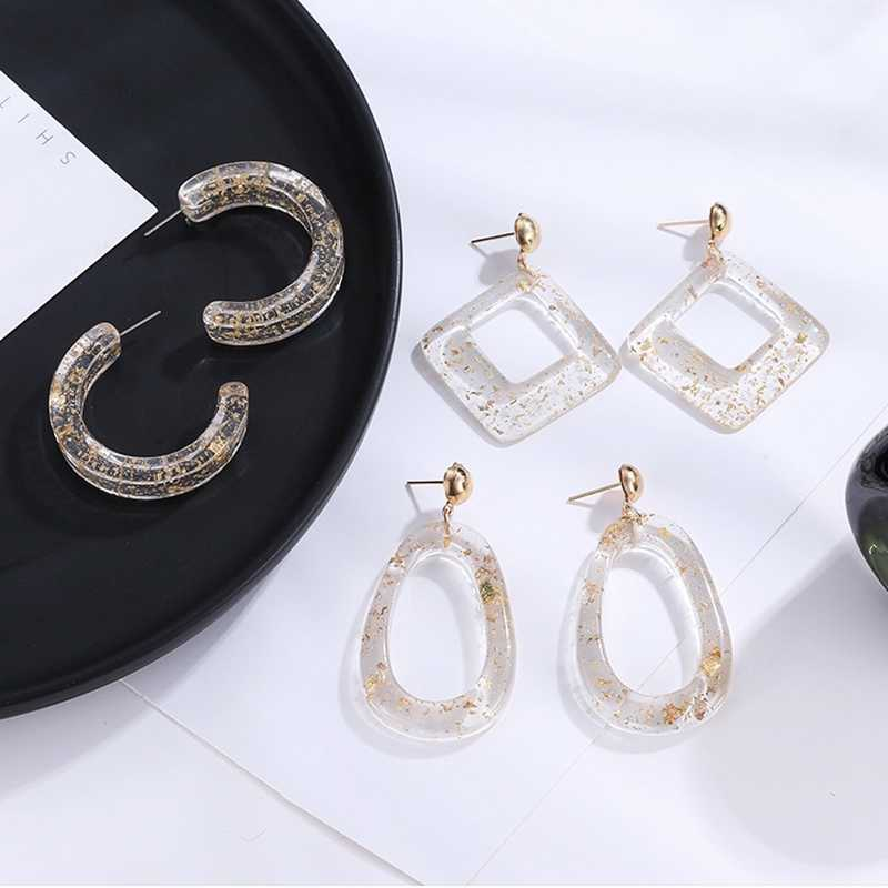Romantic Korean Transparent With Gold Color Acrylic Drop Earrings For Women Jewelry Geometric Square Water Drop Dangle Earrings