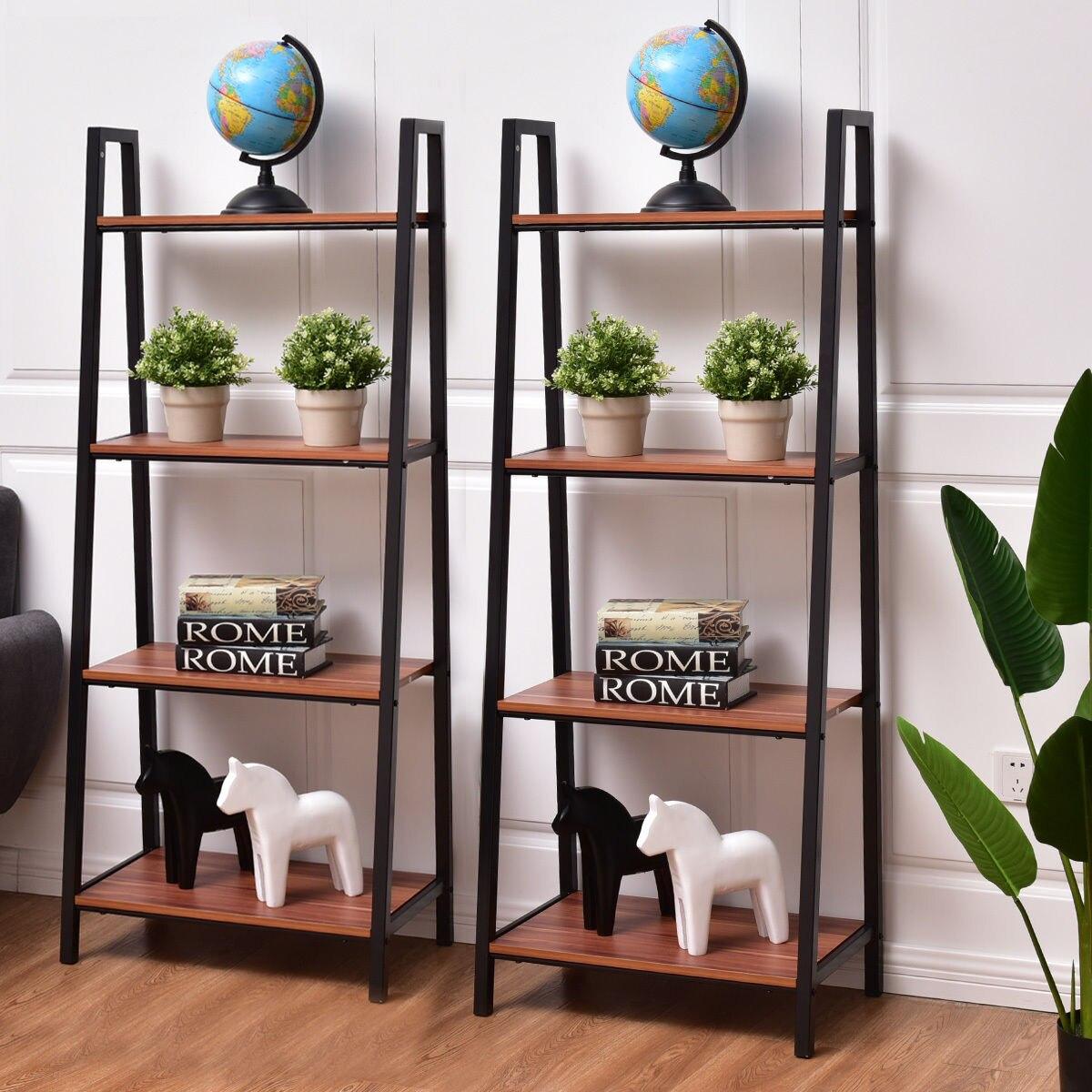 Giantex 2pcs 4 Tier Ladder Storage Bookshelf Living Room Wall Bookcase Bundle Modern Shelf Home Furniture Hw55458