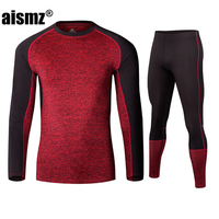 Aismz New Winter Men Thermal Underwear Sets Fleece Warm Long Johns Breathable Thermo Underwear Quick Dry