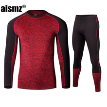 Aismz New Winter Men Thermal Underwear Sets Fleece Warm Long Johns Breathable Thermo Underwear Quick Dry Top and Pant Suit Tight