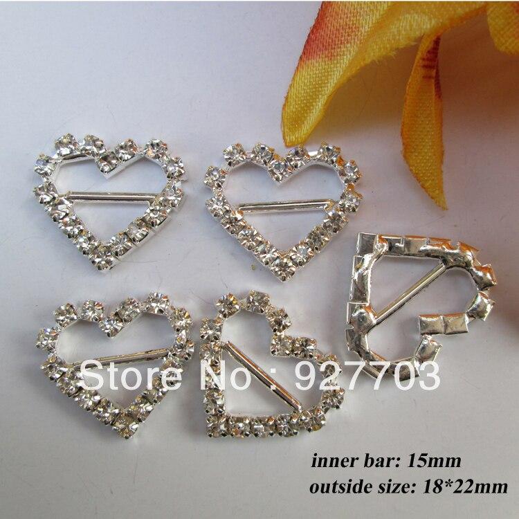 (CM44 15mm innner bar)50pcs heart buckle with horizontal bar for invitation ribbon slider