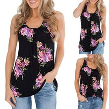 T-shirts women t shirts Women's retro flower print shirt 2019 elegant ladies sleeveless shirt Slim casual top Tops mujer verano(China)