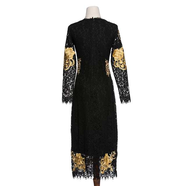 Gold Embroidery Dress Luxury