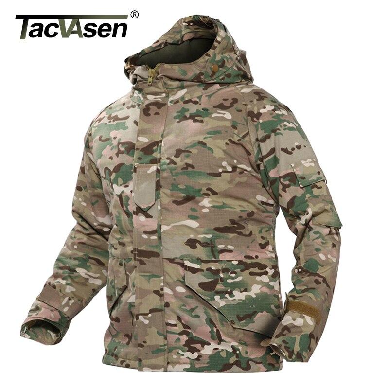 TACVASEN ejército Camouflage chaqueta militar con capucha chaqueta táctica para hombre rompevientos invierno chaqueta de lana térmica abrigo TD WHCM 008-in Chaquetas from Ropa de hombre    1