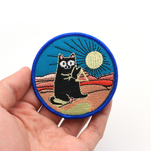 100pcs/lot Cat Playing Musical Instrument in the Sunset Embroidery Patch for Clothes Iron on Applique Diy Bags Accessorie SC4094