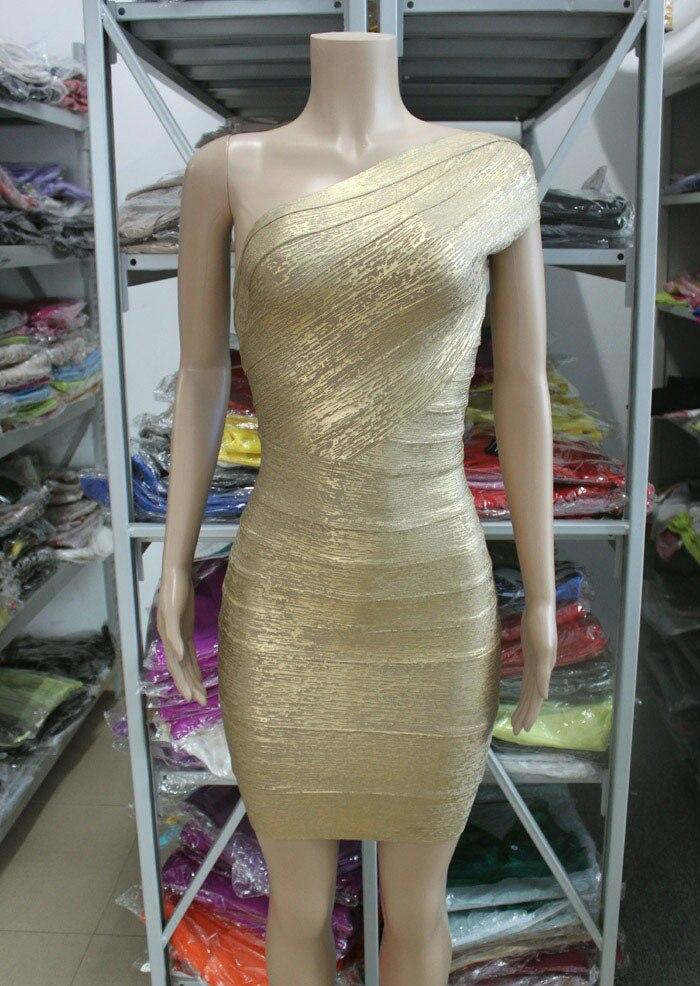 Новые женские бандажные платья знаменитостей на одно плечо с золотой фольгой Летнее мини сексуальное и Клубное вечернее платье Прямая HL478 - Цвет: gold