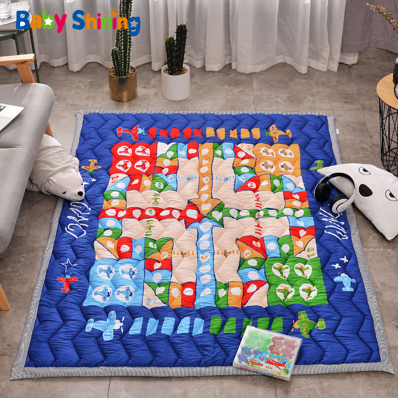 Baby Shining Baby Play Mat Cotton Playmat for Child 2cm Thick Non-slip Kids Rug 140*200cm Children Game Carpet Machine Washable