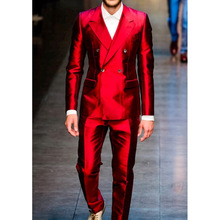 Custom Made Shiny Red Groom Suit, Bespoke Glossy Red Double Breasted Wedding Suits For Men, Tailored red tuxedo jacket