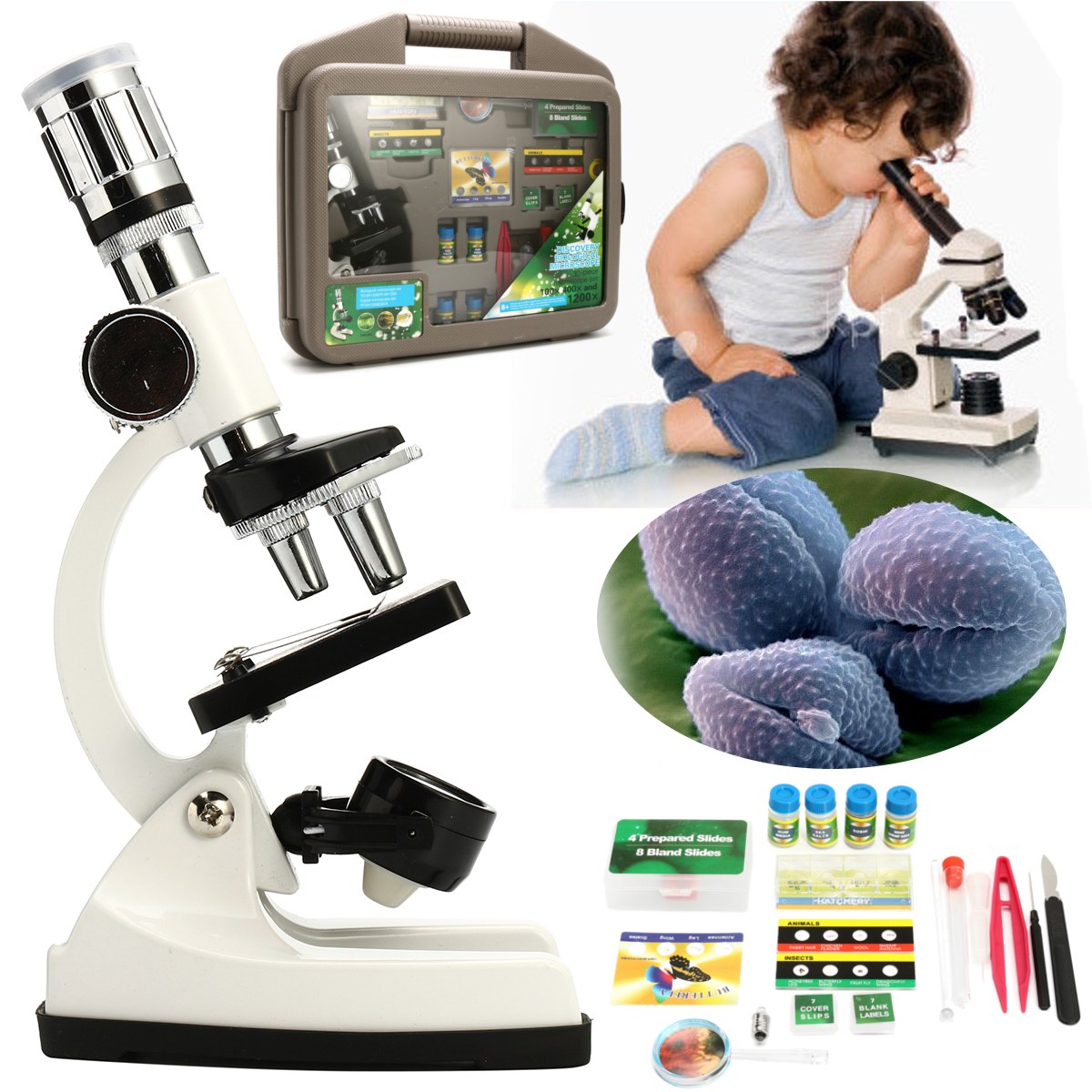 Enfants Avancée Microscope Biologique Découverte Science Outils Ensemble 50X-1200X Enfants École À La Maison Laboratoire D'apprentissage des Jouets Éducatifs Kit
